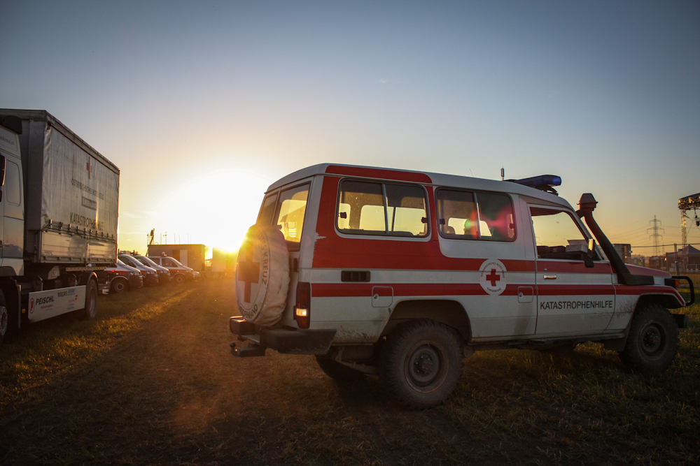 The Austrian Red Cross is responsible for medical help at the Nova Rock Festival. Nickelsdorf, 2013. Photo: RK Dokuteam Neusiedl/Deutsch